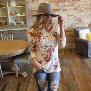 Infinity Raine Tops - 3 FOR $30 • Floral Ruffle Pullover Top